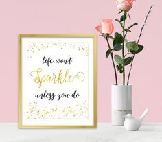 Inspirational Art Quote - Gold Glitter - Word Wall Art - Inspirational Gifts For Women - Sparkle Collection - Gold Home Decor