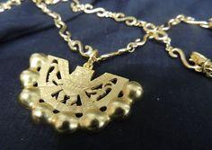 vintage Gold Vermeil Matte CCORI SIGNED Designer Necklace Peru Peruvian Haute Coture