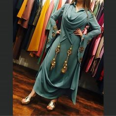 Dresses - Book ur dress now Completely stitched outfits in all colours like ✔ comment✔ share✔ tags✔ For booking ur dress plz dm or whatsapp at Dress Neck Designs, Designs For Dresses, Blouse Designs, Fashion Wear, Fashion Dresses, Fashion Clothes, Fashion Fashion, Fashion Design, Indian Designer Suits