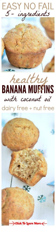 Delicious moist and fluffy banana muffins made with coconut oil are the BEST ! A great snack ready to fill your kids lunch box with healthy baking with NO processed food. #health #fitness #weightloss #healthyrecipes #weightlossrecipes