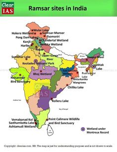 Ramsar sites (Wetlands) in India: Memorize faster - Clear IAS Geography Map, Physical Geography, Geography Lessons, Teaching Geography, India World Map, India Map, Ancient Indian History, History Of India, Gernal Knowledge
