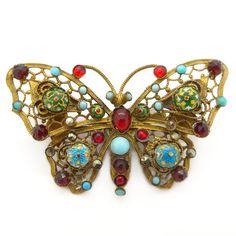 Vintage Art Deco Czech Foiled Glass Cabochon Filigree Brooch   Clarice Jewellery   Vintage Costume Jewellery
