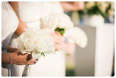 White Bridesmaid bouquets  http://jetsetwedstyleblog.com/