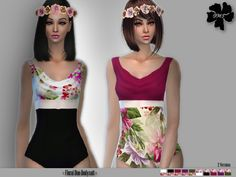 Floral Duo Bodysuit contains 10 colors with a floral pattern in 2 versions.  Found in TSR Category 'Sims 4 Female Everyday'