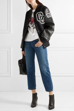 Opening Ceremony | Appliquéd wool-blend twill and textured-leather bomber jacket | NET-A-PORTER.COM