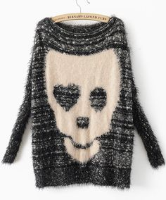 Black Batwing Long Sleeve Skull Print Pullovers Sweater: I dig it, though I'd need to see it on first.
