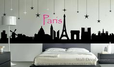 Paris Skyline Silhouette Wall Decal by WallDecalSource on Etsy, Paris Room Decor, Paris Rooms, Paris Wall Art, Paris Theme, My New Room, My Room, Girl Room, Dream Bedroom, Girls Bedroom