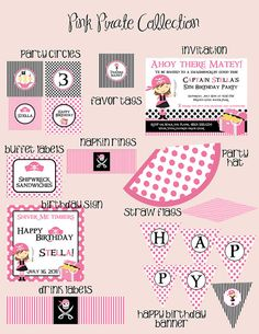 Pink Pirate  Big Party Package  Girl Birthday  by PartySoPerfect