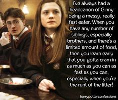 Ive always had a headcanon of Ginny being a messy really. Harry Potter Stories, Harry Potter Food, Harry Potter Facts, Harry Potter Quotes, Harry Potter Characters, Luna Lovegood, Ginny Weasly, Harry Potter Bedroom, Harry And Ginny