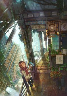 26 new ideas landscape design perspective ideas Fantasy Landscape, Fantasy Art, Landscape Design, Ville Cyberpunk, Anime City, Environment Concept Art, Animes Wallpapers, Environmental Art, Anime Art Girl