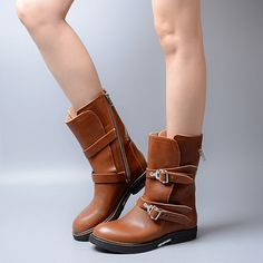 140.27$  Know more - http://ai5bq.worlditems.win/all/product.php?id=32795032171 - 2017 Hot Selling Winter Spring  Light Brown Belt Buckle Shoes Woman British Style Flat Bottine Femme Unique Mid-Calf Women Boots