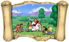 Wacky World Studios - Jesus and the Children - Bible Scroll, $160.00 (http://themes-to-go.com/jesus-and-the-children-bible-scroll/)