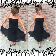 "Strapless Swing Little Black Dress Just have fun in this cute dress!!!  Top half has stretch and is very forgiving. Side tie, wear in a bow or just let it drape down. Side zip. Semi-Sheer overlay with black lining. Great for a cruise, evening wedding or Walmart...lol. Excellent condition !!!  Measures 41"" from top to hem (I'm 5'2""). Waist laying flat is 15"". Cute dress that will never go out of style. This is a ""Signature by Sangria"" dress.  Machine wash, tumble dry  Signature by Sangria…"