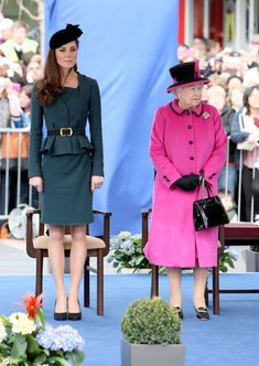Queen Elizabeth and Catherine, Duchess Of Cambridge start the Queen's Diamond Jubilee tour with a Royal Visit To Leicester City Center, March 8, 2012.