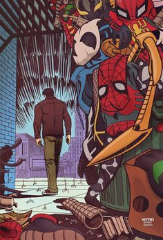Spider-man No More Fan Art (Peter Parker leaving his many Spidey costumes behind)