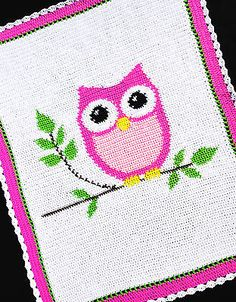 Crochet Patterns - PINK OWL - Baby Girl Afghan Pattern *EASY