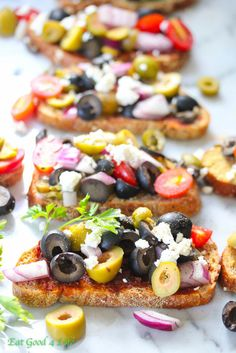 How many different versions of bruschetta have you eaten before? I have eaten several but this mixed olive bruschetta not only is super easy to put together, healthy, but also extremely delicious. Appetizer Dips, Appetizer Recipes, Bruschetta, Feta, Bruchetta Recipe, Strawberry Cheesecake Bites, Sandwiches, Goat Cheese Recipes, Olive Recipes