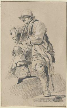 anoniem | Zittende man, naar links gewend, met hoed, snor, sabel en pijp, circle of Cornelis Pietersz. Bega, c. 1650 - c. 1675 |