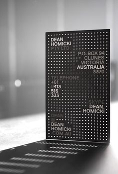 Dean Homicki business card by Pidgeon in Stationery