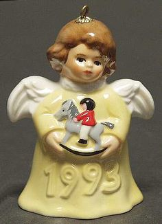 Goebel Angel Bell Ornament Rocking Horse-Yellow - Boxed