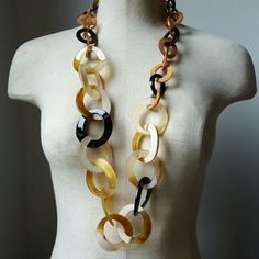 """Faux Tortoise Shell Link Statement Necklace MOD Show stopping faux tortoise shell acrylic link necklace. Gorgeous tones and texture. Measures approximately 38"""" around. Jewelry Necklaces"""