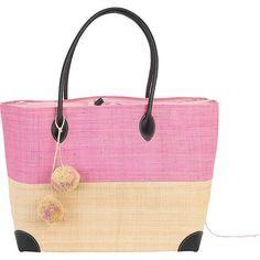 Sun 'N' Sand Raffia Madagascar Handbag Tote Light Pink Sun 'N' Sand Straw Handbags