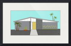 """""""Mid Century Modern House """" by Donna Mibus, Dallas // From the Mid Century Modern House Series // Imagekind.com -- Buy stunning fine art prints, framed prints and canvas prints directly from independent working artists and photographers."""