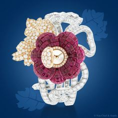 Pavot Mystérieux High Jewelry timepiece -Pavot flower: petals in Mystery Set rubies, heart in pink gold and round diamonds, leafs in pink gold and snow-setting round diamonds. Detachable flower motif to be placed as a clip-Van Cleef & Arpels