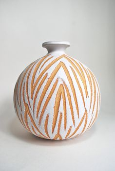 Mid Century Abstract Geometric Tribal Art Pottery