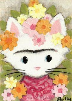 Original ACEO Frida Kahlo Cat Art by Shelly Mundel
