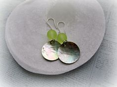 Yellow and Shell earrings Rainbow Shell by HappyTearsbyMicah, $14.00