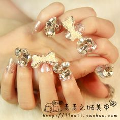 Aliexpress.com : Buy Strongly Recommending wedding 3d false nails,elegant Diamond nail tips,Beautiful Bride Bowknot Glitter fake nail,free shipping from Reliable plus tips suppliers on Jessie's shop. $15.90