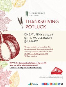 Join us for a Thanksgiving Potluck! We're so grateful to have such amazing residents and we want to thank you for making this a great community. RSVP with what you will be bringing and we'll see you there!