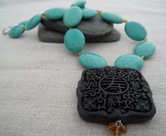 Turquoise Jewelry Cinnabar Necklace by TigerFlowerJewelry on Etsy