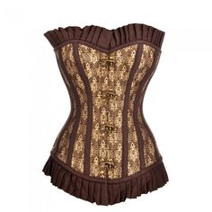 Long Brown and Golden Steampunk Corset