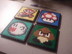 Nintendo Perler Mario Coasters or Magnets - Choose 4 Coasters. $15.00, via Etsy.