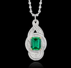 15.15 carat natural Colombian emerald, diamonds and white gold necklace, Garrard