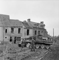 A Panther of Panzer Lehr Division, one of five knocked out in the village of…