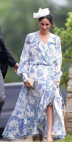 Meghan Markle wears Oscar de la Renta wrap dress  #shopthelook #SpringStyle #SummerStyle #WeekendLook #OOTD #WeddingGuestLooks