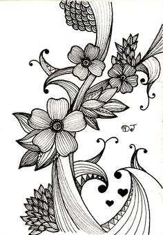 ~Art enables us to find ourselves and lose ourselves at the same time. Zentangle Drawings, Doodles Zentangles, Zentangle Patterns, Doodle Drawings, Doodle Art, Zen Doodle, Tangle Art, Doodle Inspiration, Flower Doodles