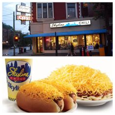 Skyline Chilli is a Cincinnati original ! I can't go more than a few days without it and most natives are the same way . There are Skylines all over our city but my favorite skyline is on Ludlow Avenue in Clifton , Its a gorgeous building , they are open late every night , they're especially fast and efficient and it's in a gorgeous area ! Drive around after you eat there and check out the houses in the area !