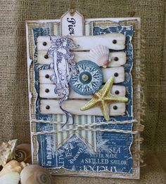Gorgeous nautical card using By the Sea by Gabrielle Pollacco #graphic45 #cards