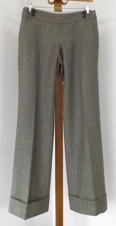 Banana Republic Womens Pants Size 0 Dress Side Zip WOOL Brown Blue Plaid #BananaRepublic #DressPants