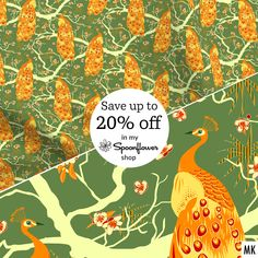 """Buy more, save more"" sale: Get up to 20% off fabric, wallpaper & decor through tomorrow Friday March 19 in my @Spoonflower Shop! #spoonflowersale #fabricdesign #fabricdesigner #ilovesewing #patternandprint #patterndesign #patterndesigners #patternlove #peacock #pfau #printpattern #repeatpattern #sale #sewcialists #spoonflower #fabricart #spoonflowerfabric #spoonflowerfabrics #spoonflowermakers #Spoonflowerstoffe #Spoonflowertapete #surfacepattern #surfacepatterndesign #textilepattern Wallpaper Decor, Fabric Wallpaper, Pattern Wallpaper, Fabric Art, Fabric Design, Textile Patterns, Print Patterns, Buy Fabric Online, Spoonflower Fabric"