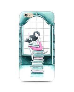 Phone case, iphone 6 plus, iphone 6, iphone 6s, iphone 5/5s, iphone 5c, samsung, fashion illustration, book lover, books - Book Lover