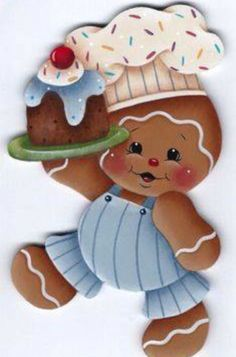 quenalbertini: HP Gingerbread Boy Chef with Cake - Fridge Magnet Gingerbread Ornaments, Gingerbread Decorations, Christmas Gingerbread, Christmas Art, Christmas Decorations, Christmas Ornaments, Christmas Patterns, Illustration Noel, Country Paintings