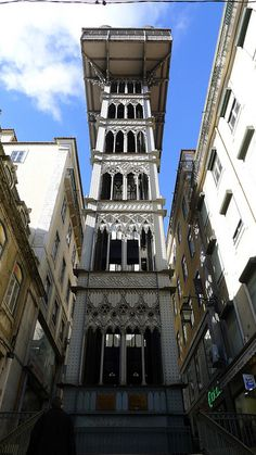 Santa Justa Lift, Lisbon / The Santa Justa, also called Elevador do Carmo is a passenger elevator which connects the Baixa with the higher Chiado in Lisbon city center. Wikipedia
