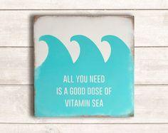 Beach Decor; Beach Wood Signs; Beach Wooden Signs; Beach Signs; Rustic Beach Decor; Rustic Beach Signs; Good Dose of Vitamin Sea
