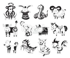 Animals from Chinese horoscope Royalty Free Stock Vector Art Illustration