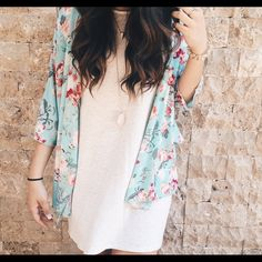Charlotte Russe Floral Kimono Chiffon fabric, bright summer time floral print, kimono. Perfect condition. Worn only a few times and a great light weight fabric! Size Small but fits like a medium! Charlotte Russe Jackets & Coats